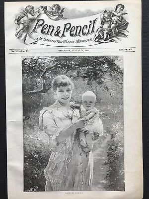 Antique print FATHERS COMING Pen & Pencil Mag c1889 Original, Aug 24, One Penny