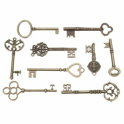 9PCS BIG Large Antique Vtg old Brass Skeleton Keys Lot Cabinet Barrel Lock DA