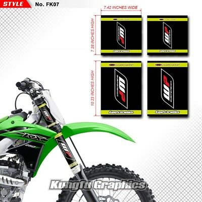 Kungfu Graphics WP Suspension Upper Mid Fork Guards Stickers Decals Black 4 PCS