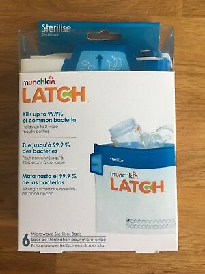 Munchkin Microwave Steriliser Bags Baby Bottle Latch 6 Pack - Use 180 times