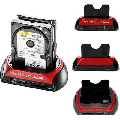"""Dual 2.5/3.5"""" USB 3.0 IDE SATA HDD Hard Drive Disk Dock Docking Station All In 1"""