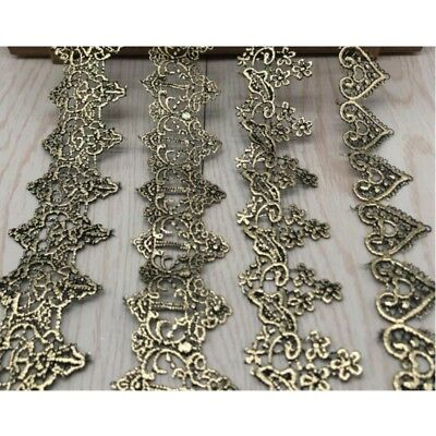 Victorian Antique Metallic Gold Embroidered Lace Trim Wedding Embellish Vintage
