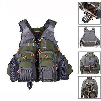 OUTDOOR Multi-pocket Fly Fishing Vest Backpack Chest Mesh Bag Adjustable Size FS