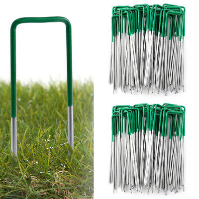 50 Artificial Grass Fixings Astro Turf Ground Peg Pins Staples