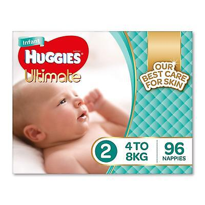 Huggies Ultimate Nappies, Unisex, Size 2 Infant (4-8kg),96 Count Baby Disposable