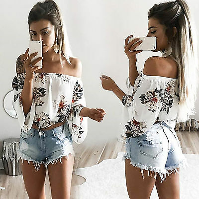 AU Womens Summer Loose Casual Off Shoulder Shirt Crop Tops Blouse Party Club Top