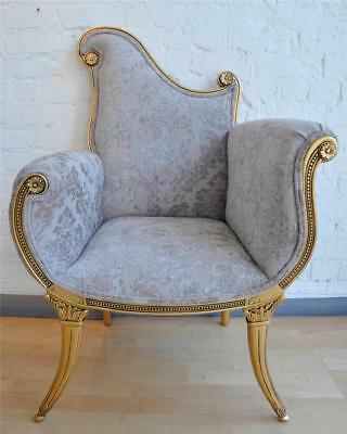 Vintage Large Gold  Leaf Champagne French Ornate Statement Armchair Throne Chair