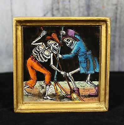 Hand Painted Glass Skeletons Dias de los Muertos Sweeping églomisé Peru Folk Art