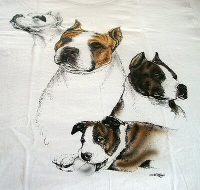 """American Staffordshire Terrier T-shirt  """" White """" Small ( 34 ~ 36 )"""