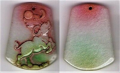 Tri-coloured Carving Chinese Jade Moon Calf Pendant - orange, white and green