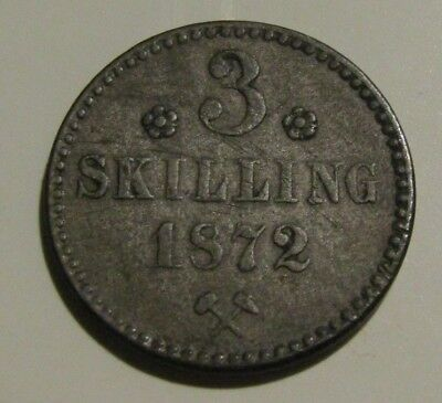 Norway 1872 3 Skilling silver Coin