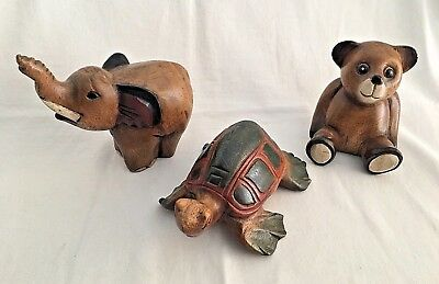 """Lot 3 Wooden Animals Hand Carved & Painted Turtle 8"""" Elephant 7"""" Teddy Bear 5"""""""