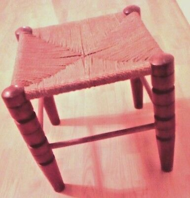 Mid Century Modern Hand Made Jute and Wood Foot Stool Primitive Looking.