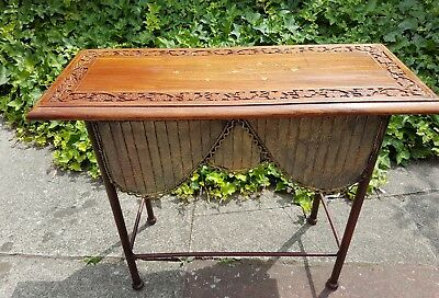 Vintage Ornate Side Table Brass Inlaid Top with Quirky Metal Skirted Legs