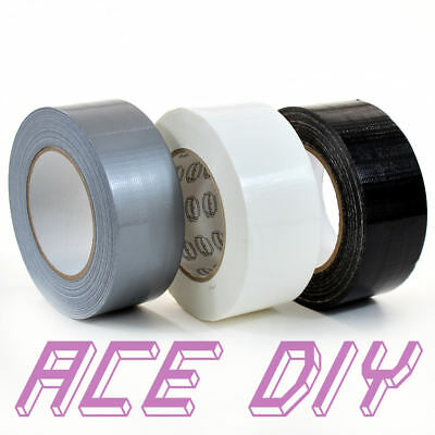 Duct Tape | White Grey Black 50mm x 50m Roll | Gaffer Gaffa Duck Heavy Duty Bond