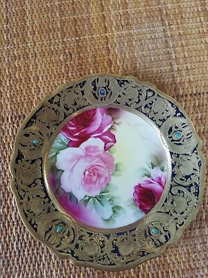 8 1/2 Inch Decorative Plate With Gold And Dark Blue Border possibly Nippon
