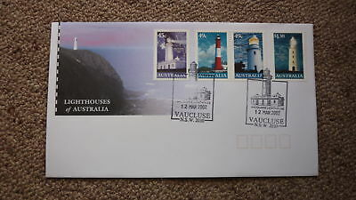 2002 Lighthouses Of Australian Fdc, 4 Stamps, Lighthouse Pm Vaucluse