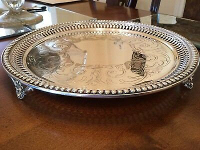 Lovely Antique Victorian Silver Plated Chased Footed Drinks Tray
