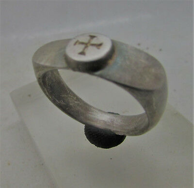 Superb Ancient Byzantine Heavy Silver Seal Ring With Cross Motif On Bezel
