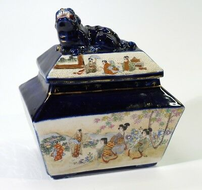 Fine Antique Japanese Sarcophagus Shaped Box & Cover with Temple Lion Finial.
