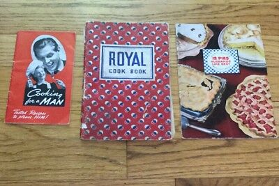Lot Of 3 Vtg Cook Books:  Royal 1937,  A-1 1941, Spry PIES HUSBANDS LIKE 1952