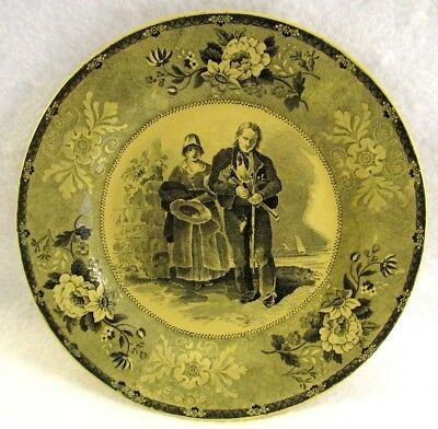 Antique French Canary Yellow Faience Transferware Small Plate #2