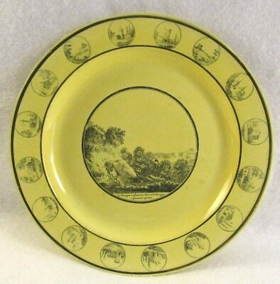 Antique French Canary Yellow Faience Transferware Plate Man & Woman River Bank