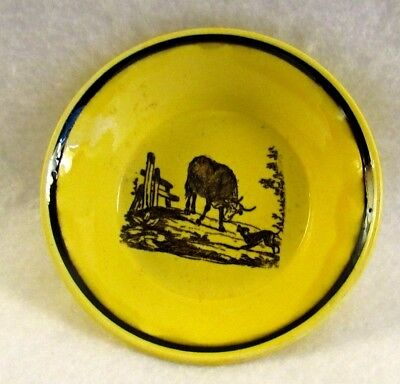 Antique French Canary Yellow Faience Transferware Cup Plate with Cow
