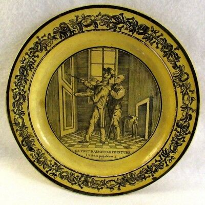 Antique French Canary Yellow Faience Transferware Plate Depicting an Artist