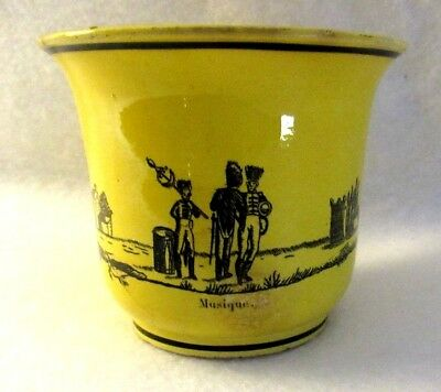 Antique French Large Canary Yellow Faience Transferware Teacup with Soldiers