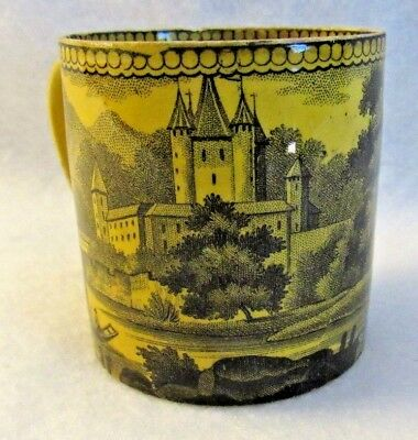 Antique French Canary Yellow Faience Transferware Teacup with Castle
