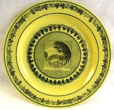 Antique French Canary Yellow Faience Transferware Plate1819 Paris Exposition