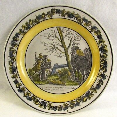 Antique French Yellow Transferware Plate Depicting Soldiers