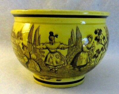 Antique French Canary Yellow Faience Transferware Teacup with Children Playing