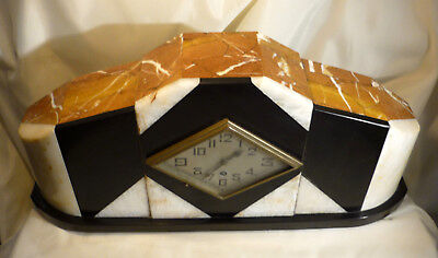 "Art Deco Mantle Clock Black & White & Brown Marble Case Large 21"" Wide Working"