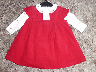 MOTHERCARE Lovely Baby Girls Red Corduroy Christmas Dress Outfit 0-3 Months NEW