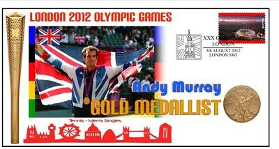 Andy Murray 2012 Olympic British Tennis Gold Medal Cov