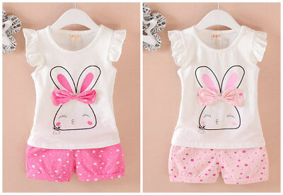 2pcs toddler summer clothes baby girls Tee+short pants kids casual outfits bunny
