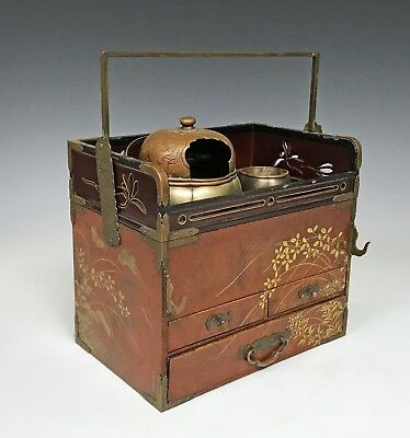 Fine Quality Antique Japanese Opium Warmer Chest Wood And Lacquer Signed