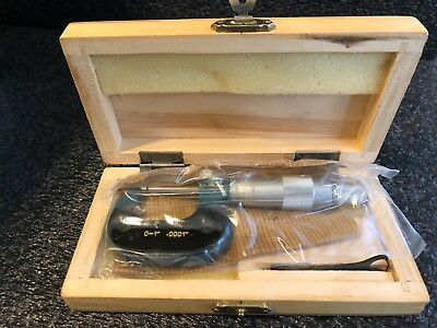 "Inch Outside Micrometer Tool 0-1"" Vintage In Wooden Box New Old Stock Sealed"