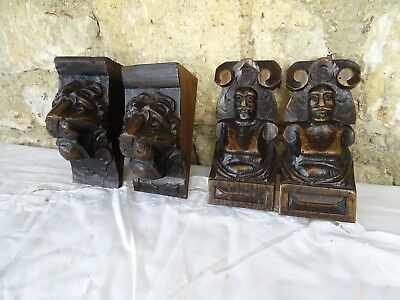 Lot of 4 pces French Antique Hand Carved Oak Wood /Lion/ Corbels Salvage Trim