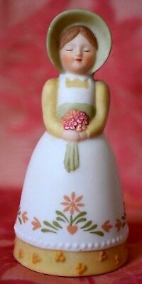 AVON Bell Lady with bonnet Apron & Flower Bouquet 1985  over 3 inches tall