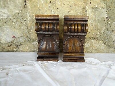 "5.6"" Pair of French Antique Hand Carved Solid Walnut Wood Corbels Salvage Trim"