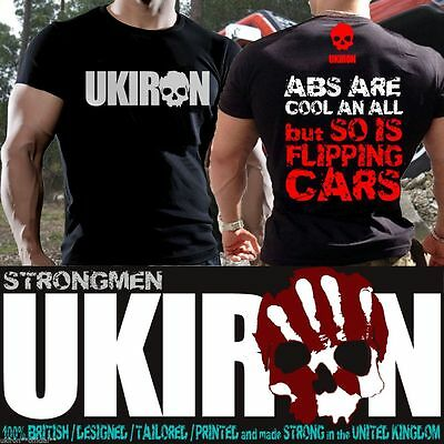 UKIRON *FLIPPING CARS* Strongman Muscle T-Shirt TOP Gym MMA UK tshirt