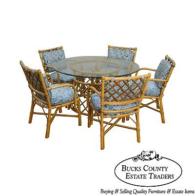 Ficks Reed Vintage Rattan 6 Piece Round Glass Top Dining Table & Chair Set