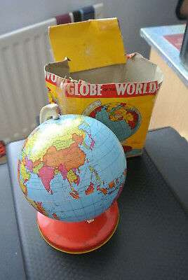 "Vintage Tin Globe 16"" Round and 8.5"" High on metal stand-with Original box"