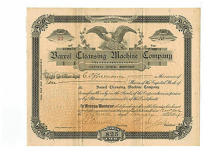 Barrel Cleansing Machine Company 1894 Stock Certificate!  #27