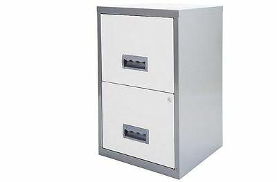 Pierre Henry 2 Drawer White Metal Lockable Office Filing Cabinet A4 Storage Unit