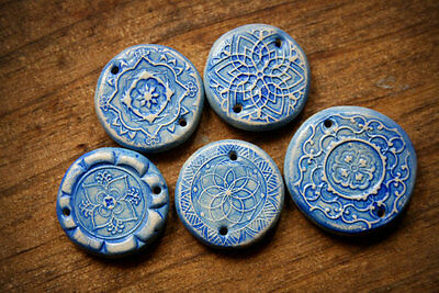 Italian Ceramic Inspired Polymer Clay Bead Collection (5 beads) Blues