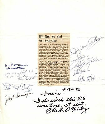 Ray Kroc & 8 of the Richest People of 1976 Chicago AUTO Signed Display PSA/DNA